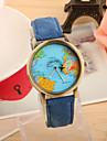 Women's Fashion Watch Quartz Strap Watch PU Band Vintage World Map Black White Blue Red Green Yellow