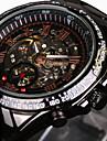 WINNER 남성 스켈레톤 시계 손목 시계 기계식 시계 방수 중공 판화 타키 미터 야광의 오토메틱 셀프-윈딩 스테인레스 스틸 밴드 빈티지 멋진 럭셔리 블랙
