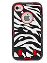 iPhone 4/4S를위한 얼룩말 본 실리콘 코트 (선택적인 색깔)와 수비수 시리즈 하이브리드 방어적인 단단한 케이스