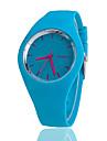 Masculino Mulheres Unissex Relógio de Moda Relógio Casual Quartzo Silicone BandaPreta Branco Azul Vermelho Laranja Marrom Verde Rosa Roxa