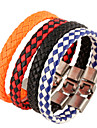 Classic Woven 22cm Unisex White Leather Leather Bracelet(1 Pc) Jewelry Christmas Gifts