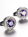 Unisex Fashion Purple Crystal Silver Alloy French Shirt Cufflinks (1-Pair)