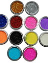 12pcs цвета порошок блеск ногтей художественное оформление
