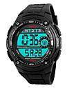 SKMEI Masculino Relógio Esportivo LED Calendário Cronógrafo Impermeável alarme Cronômetro Noctilucente Digital PU Banda Legal Preta