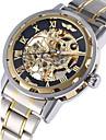 WINNER 남성 손목 시계 기계식 시계 중공 판화 오토메틱 셀프-윈딩 스테인레스 스틸 밴드 럭셔리 실버