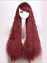 élégant Coup ordonné moelleux caractère rouge longue perruque synthétique ondulé pour les femmes