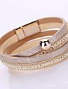 Women's Chain Bracelet Wrap Bracelet Fashion Handmade Multi Layer Costume Jewelry Leather Rhinestone Imitation Diamond Alloy Geometric