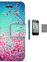 아이폰 4 / 4S를위한 스크린 보호 및 USB 케이블, 스타일러스 코코 fun® 하늘 붉은 꽃 패턴 PU 가죽 케이스