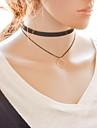 Feminino Gargantilhas Colares com Pendentes colares em camadas Gargantilha tatuagem Forma Geométrica Tecido Liga Tatuagem Moda Ajustável