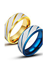 Anéis Grossos Aço Titânio Jóias Original Moda Dourado Azul Jóias Casual 1peça