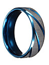 Men Rings Blue Silver Brushed Section Titanium Steel Finger Ring Men Jewelry bague homme Christmas Gifts