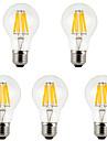 5 pçs MORSEN E26/E27 8W 8 COB 800 LM Branco Quente / Branco Frio A60(A19) edison Vintage Lâmpadas de Filamento de LED AC 85-265 V