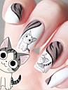 물 전송 인쇄 만화 고양이 패턴 네일 스티커