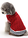 Коты Собаки Свитера Одежда для собак Зима Цветовые блоки На каждый день Сохраняет тепло Рождество Красный Синий