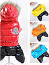 Dog Coat Hoodie Clothes/Jumpsuit Dog Clothes Winter Spring/Fall Color Block Sports Keep Warm Windproof Orange Yellow Red Blue