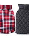 개 코트 조끼 강아지 의류 겨울 모든계절/가을 격자 무늬 / 체크 따뜻함 유지 양면 가능 베이지 브라운 레드 그린