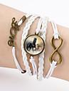 Men's Women's Charm Bracelet Leather Bracelet Wrap Bracelet Friendship Double-layer Leather Love Horse Infinity Jewelry For Casual