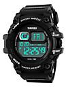 SKMEI Masculino Relógio Esportivo Digital LED Calendário Cronógrafo Impermeável alarme Cronômetro Noctilucente PU Banda Legal PretaPreto