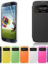 Para Samsung Galaxy Capinhas com Visor / Flip Capinha Corpo Inteiro Capinha Cor Única Couro PU Samsung S4