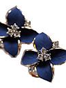 Серьги-гвоздики в виде цветков с камнями