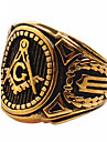 Men's Fashion 316L Titanium Steel Personality Vintage Sculpture Gold Plating Jewel Rings Casual/Daily Accessory 1pc