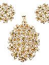 z&x® plaqué or Wintersweet inséré rouge boucle d'oreille de zircon et bijoux pendentif ensemble