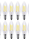 4w e14 ampoules filament led c35 4 cob 400 lm blanc chaud blanc frais décoratif 220-240 v 12 pcs