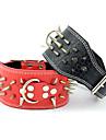 Colliers Ajustable/Réglable Cloutées Rivet Solide Vrai cuir Noir Rouge