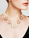 Women's Power Necklace Statement Necklaces Pearl Flower Pearl Vintage Fashion Statement Jewelry Gold Ivory Jewelry ForWedding Party Gift