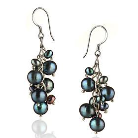 Women's Black Pearl Drop Earrings Sterling Silver Silver Earrings Jewelry For 1pc