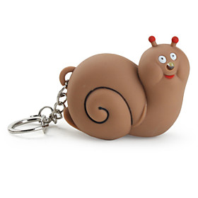 Key Chain Snail Cartoon LED Lighting / Sound Brown ABS 253144