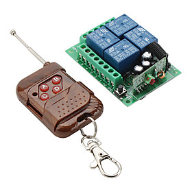 4-Channel Remote Control Switch Receiver and 4-Key Transmitter