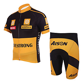 100% Polyester and Quick Dry Mens Cycling Short Suits (Yellow)