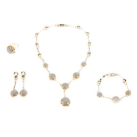 Women's Crystal Jewelry Set - Crystal, Rhinestone Fashion Include Golden For Wedding / Rings / Earrings / Necklace / Bracelets  Bangles