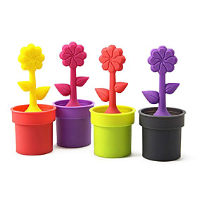 Potted Plant Design Silicone Tea Filter Strainer (Random Colors)