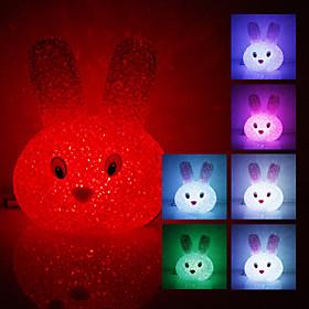 Crystal Rabbit Shaped Color Changing LED Night Light (USB) 560715