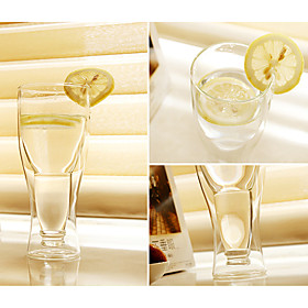 Upside Down Beer Bottle Style Double Walled Glass Cup 545510