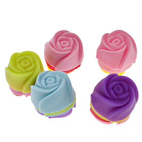 Rose Shaped Colorful Silicone Mini Cupcake Mould (20pcs) 623838