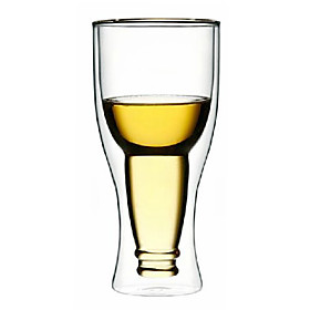 Upside Down Beer Bottle Style Double Walled Glass 640801