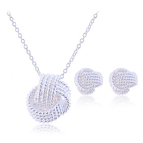Women's Plaited Jewelry Set - Sterling Silver, Silver Elegant, Bridal Include Stud Earrings Pendant Necklace Silver For Party Birthday Engagement