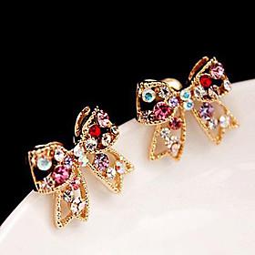 Women's Stud Earrings Rhinestone Earrings Love Bowknot Ladies Luxury Cute Jewelry Golden For Party Daily Casual