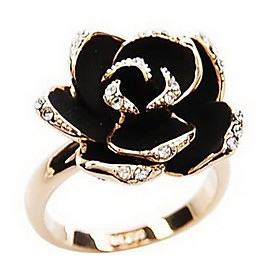 Women's Statement Ring Rhinestone Alloy Roses Flower Ladies Vintage European Open Ring Jewelry Silver / Golden For Party Daily Casual Adjustable