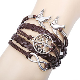 Women's Layered woven Charm Bracelet Wrap Bracelet Leather Bracelet Leather Love Infinity life Tree Ladies Personalized Basic Multi Layer Bracelet Jewelry Brow