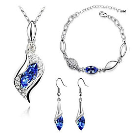 Women's Sapphire Crystal Synthetic Diamond Jewelry Set Crystal, Rhinestone, Imitation Diamond Ladies, Basic, Fashion Include Drop Earrings Pendant Necklace Bra