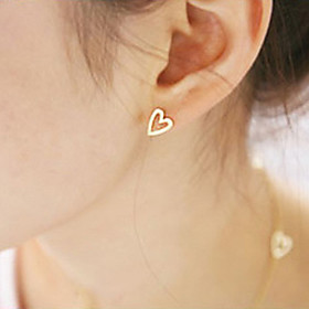 Women's Stud Earrings Earrings Heart Ladies Simple Style Fashion Jewelry Gold / Silver For Party Daily Casual