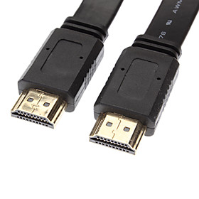 HDMI V1.4 Stecker auf Stecker Kabel Black Flat-Type für Smart LED HDTV / Chromecast / Blu Ray DVD  (5M) 732319