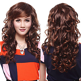 Capless High Quality Synthetic Chestnut Brown Wavy Hair Wigs 763600