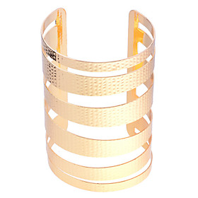 Lureme Gold Plated Hammered Bangle Cuff