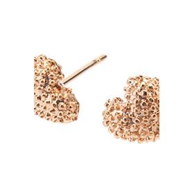 Rose Gold Rough Heart Stud Earrings