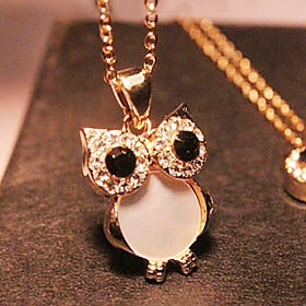 Women's Pendant Necklace / Long Necklace - Rhinestone, Shell Owl Vintage, European, Fashion Golden Necklace Jewelry For Party, Gift, Daily
